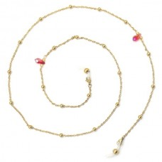 Zonnebril ketting gold red